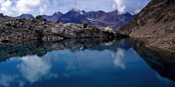 One of the small lakes under the Halsljoch mountain in the gruppo Tessa group.