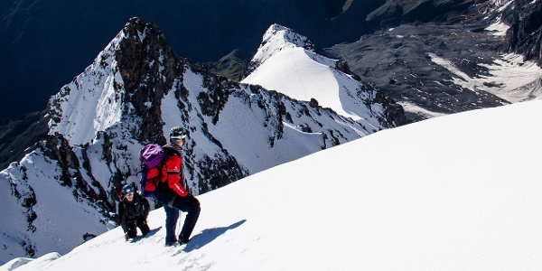 The ascendt to the Ortles mountain leads over the Cresta del Coston, this is the second ice field.