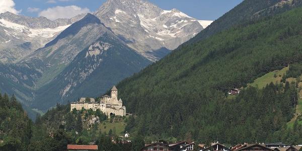 "Sand in Taufers - in the back the mountain ""Schwarzenstein"" (3369 m)."