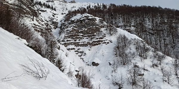 Crossing trail beneath Mt. Tolminski Migovec