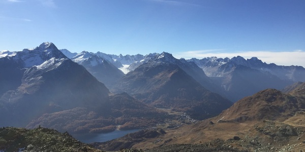 View from Fuorcla Grevasalvas towards the Engadin and Bergell