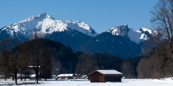 Der Scheinberg erhebt sich über dem Graswangtal (rechts der Hasentalkopf mit der schneidigen Firnabfahrt durch den Hasentalgraben).