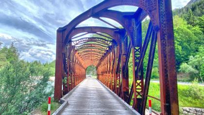 Steel bridge on cycle path toward Mojstrana