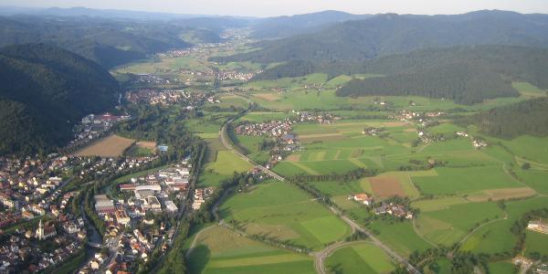 Kollnau - Gutach - oberes Elztal von oben