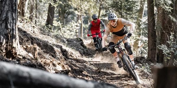 Zwei Downhill Biker auf dem Heartbeat Trail von Beatenberg zur Beatenbucht