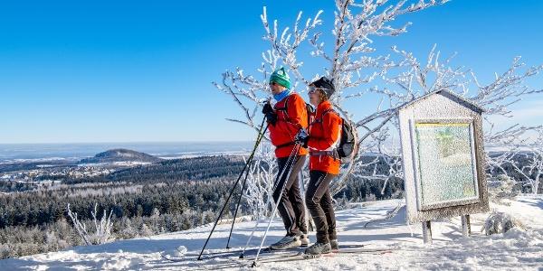 Langläufer auf dem Kahleberg, Skifahren