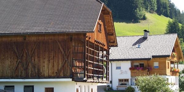 Am Waldrand liegt das Bauernhaus Zelè in St. Vigil in Enneberg.