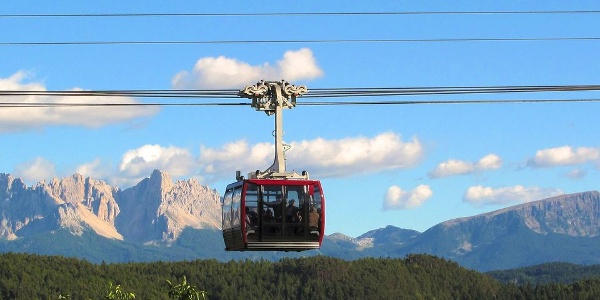 The Renon cable railway, 950 meters difference in altitude in just 12 minutes