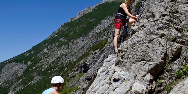 Am Klettersteig Lünersee.