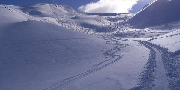 Aufstieg auf den Kamm zwischen Vennspitze und Padauner Berg