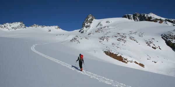 In einem großen Rechtsbogen steuern wir die steilere Gletscherrampe an, die zum Gipfel führt.