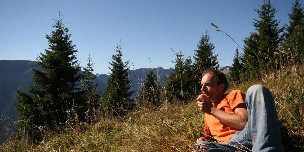 Pause an der Brunnenkopfhütte
