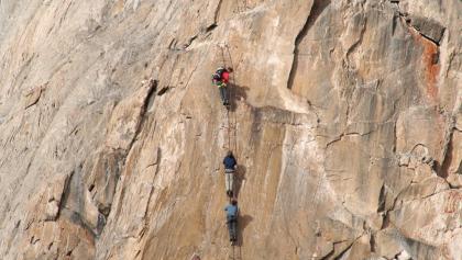 Am Klettersteig Rote Säule