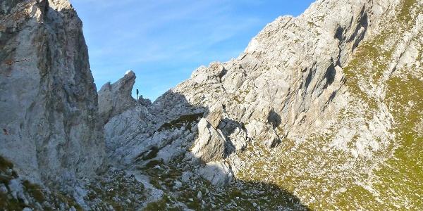 kurz vor den Kletterpassagen des Westgrates der Rumer Spitze