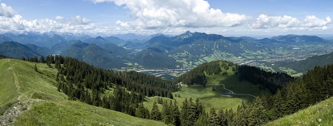 Gipfelpanorama über den Isarwinkel (von Schönberg bis Geierstein)