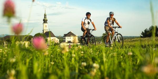 Mozartradweg mit Wiese und Kirche Bergheim