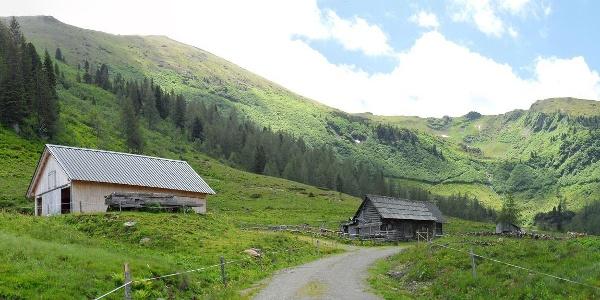 Hinter der Bauernhütte ist der Planerknot und die rechts davon gelegene Plannerseekarspitze.