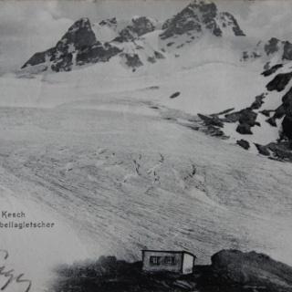 Der Porchabella-Gletscher und die Kesch-Hütte um 1900.