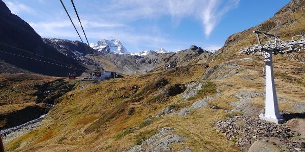 Gondelfahrt hinauf zu den Fernauer Klettersteigen.
