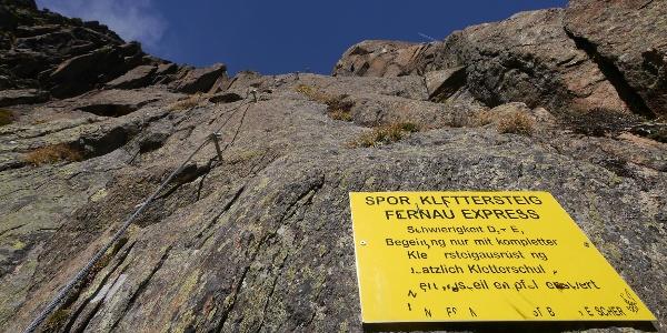 Einstieg Fernau Express Klettersteig