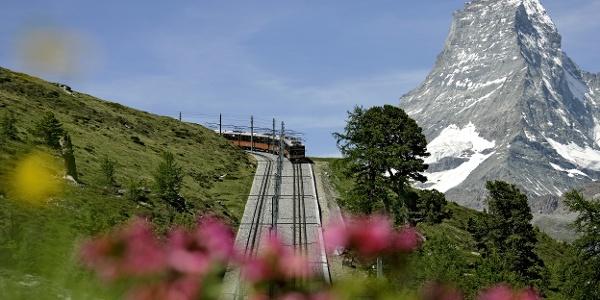 Gornergrat Bahn cog railway with the Matterhorn (4,478 m) in the background