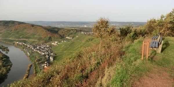 Blick vom Burgberg auf Ürzig und über den Kamm der Moselberge hinweg bis ins Wittlicher Tal