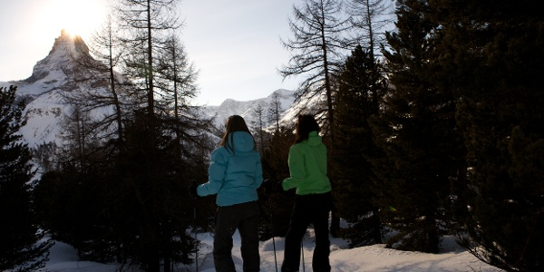 Randonnée en raquettes dans un paysage tout hivernal
