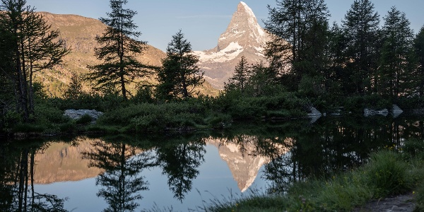 Grindjisee lake also with reflection of the Matterhorn