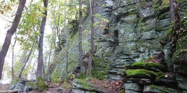 Leisteenrotsformaties op het klimpad in de Mehringer Schweiz