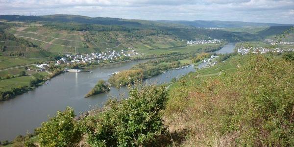 Uitzicht vanaf de wijngaarden van Detzem in de richting van Detzem, met stuwdam en sluis