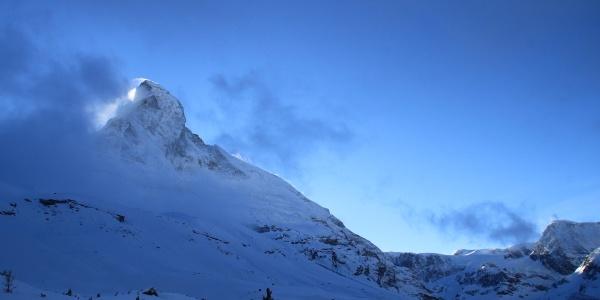 Along the north face of the Matterhorn