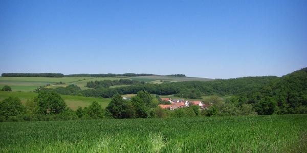 Blick auf die hügelige Landschaft bei Höringen