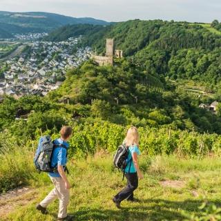 View over to Niederburg Castle and Kobern-Gondorf