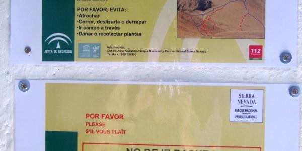 Die Westanstiege zum Mulhacén: Info im Inneren des Refugio