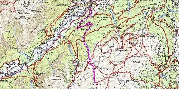 Der Aufstieg. Kartenauschnitt der Alpenvereinskarte 31/3 Brennerberge erhältlich im Shop www.alpenverein.at