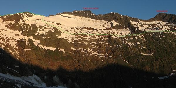 Panoramabild Schalfkogel Ostflanke mit Routenverlauf